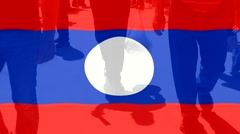Laos  flag and People Stock Footage