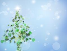 Christmas tree shape on blue background - stock illustration