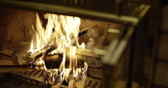 Open fireplace fire burning - stock footage