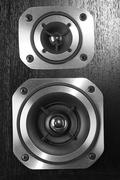 Closeup of stereo speakers - stock photo