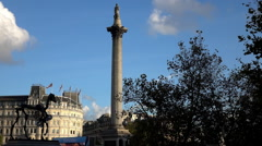 Lord Nelson column at Trafalgar square - stock footage