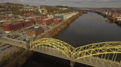 Aerial Shot of Bridges and Heinz Factory. Stock Footage