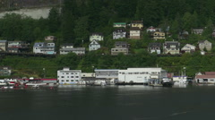 Ketchikan Alaska Coastline With Homes And Buildings All Logos Removed. Stock Footage