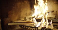 Fire place Slow motion - wide Stock Footage