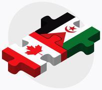 Canada and Western Sahara Flags - stock illustration