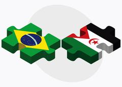 Stock Illustration of Brazil and Western Sahara Flags