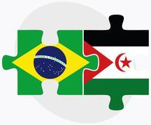 Brazil and Western Sahara Flags - stock illustration