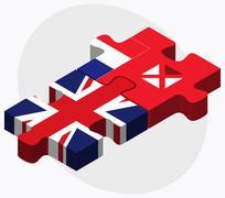 United Kingdom and Wallis and Futuna Flags - stock illustration