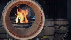 Manufacturing wine barrels Stock Footage