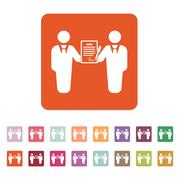 The contract icon. Agreement and signature, pact, partnership, negotiation - stock illustration
