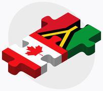 Canada and Vanuatu Flags - stock illustration