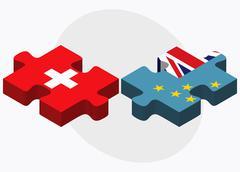 Switzerland and Tuvalu Flags Stock Illustration