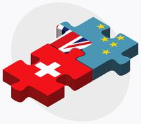 Switzerland and Tuvalu Flags - stock illustration