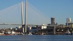 Golden bridge over Zolotoy Rog Bay. Vladivostok. Russia Stock Footage