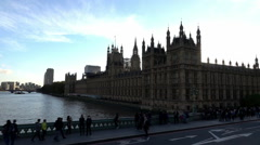 Westminster Palace - view from Westminster Bridge  - Extreme Slow Motion 240fps - stock footage