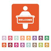 The welcom icon. Invite symbol. Flat Stock Illustration