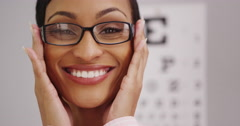 Happy black woman wearing eyeglasses - stock footage