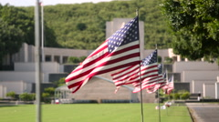 American flag at Military Memorial Cemetery Stock Footage