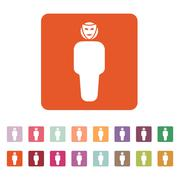 The anonym icon. Unknown and faceless, impersonal, featureless symbol. Flat Stock Illustration