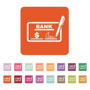 Stock Illustration of The check icon. Checkbook and cheque, pay, payment, paying symbol. Flat