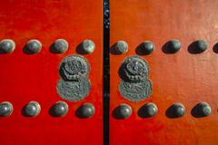 Red gate in Forbidden City Stock Photos