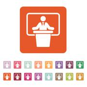 Stock Illustration of The speech icon. Speak and broadcaster, orator, presentation, conference symbol