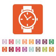 The watch icon. Clock and wristwatch, timer, time, stopwatch symbol. Flat Stock Illustration