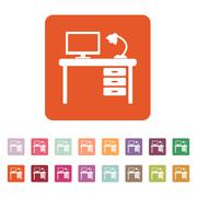 The table icon. Workplace and job, office, working symbol. Flat Stock Illustration