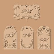 Stock Illustration of Elegant victorian swirl gift tag