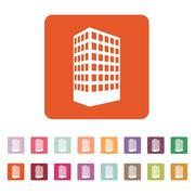 The building icon. Apartment and skyscraper, townhouse, house symbol. Flat Stock Illustration
