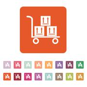 The warehouse trolley with boxes icon. Delivery and logistic, shipping - stock illustration