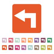 The left icon. Direction and arrow, navigation symbol. Flat - stock illustration