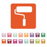 The paint roller icon. Decorating and painting, repair symbol. Flat Stock Illustration