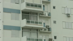 Establishing shot of dwelling house balcony. Rent apartment. Low season at hotel Stock Footage