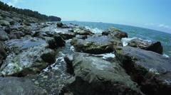 Wild stony shore of Black sea Stock Footage