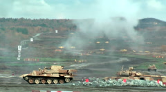Armoured recovery vehicle BREM-1M in action Stock Footage