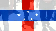 Netherlands Antilles  flag and People Stock Footage