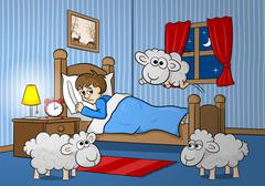 Stock Illustration of sheep jumping over the bed of a sleepless man