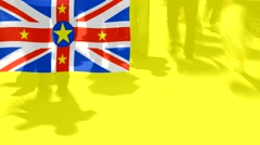 Niue  flag and People Stock Footage