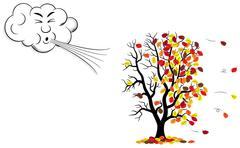 Stock Illustration of cartoon cloud that blows wind to a tree who loses fall foliage