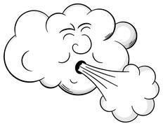 Stock Illustration of cartoon cloud blows wind