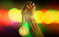 Stock Photo of Winner Medal on bokeh Background