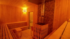 Large private sauna with a stylish interior 3 - stock footage