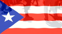 Puerto Rico  flag and People Stock Footage