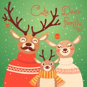 Christmas reindeer family. Cute card with deer is dressed in sweaters and scarf - stock illustration