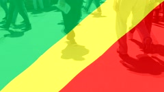 Stock Video Footage of Republic of the Congo  flag and People