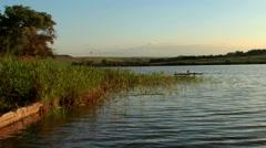 Sunset on the river Seversky Donets. Koksoviy village, Rostov Region, Russia Stock Footage