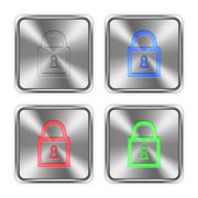 Color locked padlock steel buttons - stock illustration