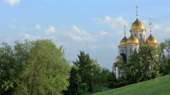"Clouds over the orthodox temple of ""All Saints Church"" in Volgograd, Russia Stock Footage"