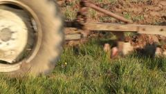 Tractor Ploughing in the Field - stock footage
